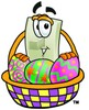 Light Switch Cartoon Character With Easter Eggs In a Basket clipart