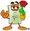 Light Switch Cartoon Character Holding a Red Rose clipart