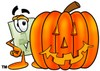 Light Switch Cartoon Character With a Halloween Pumpkin clipart