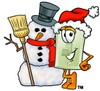 Light Switch Cartoon Character With a Snowman clipart