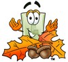 Light Switch Cartoon Character With Autumn Leaves and Acorns clipart