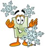 Light Switch Cartoon Character With Snowflakes clipart