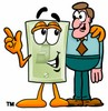 Light Switch Cartoon Character Talking To a Businessman clipart