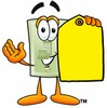 Light Switch Cartoon Character Holding a Yellow Price Tag clipart