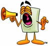 Light Switch Cartoon Character Screaming Into a Megaphone clipart