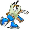 Light Switch Cartoon Character Playing Ice Hockey clipart