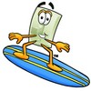 Light Switch Cartoon Character Surfing clipart