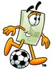 Light Switch Cartoon Character Playing Soccer clipart