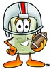 Light Switch Cartoon Character Playing Football clipart