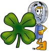Magnifying Glass Cartoon Character With a Four Leaf Clover clipart