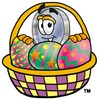 Magnifying Glass Cartoon Character With Easter Eggs In a Basket clipart