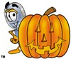 Magnifying Glass Cartoon Character With a Halloween Pumpkin clipart
