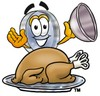 Magnifying Glass Cartoon Character Serving a Thanksgiving Turkey clipart