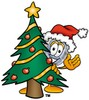 Magnifying Glass Cartoon Character With a Christmas Tree clipart
