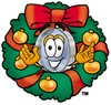 Magnifying Glass Cartoon Character With a Christmas Wreath clipart
