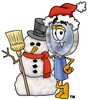 Magnifying Glass Cartoon Character With a Snowman clipart