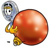Magnifying Glass Cartoon Character Holding a Christmas Ornament clipart