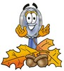 Magnifying Glass Cartoon Character With Autumn Leaves and Acorns clipart