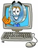 Magnifying Glass Cartoon Character In a Computer Screen clipart