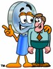 Magnifying Glass Cartoon Character Talking To a Businessman clipart