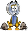 Magnifying Glass Cartoon Character Lifting Weights clipart