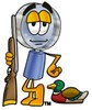 Magnifying Glass Cartoon Character Duck Hunting clipart