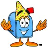 Mail Box Cartoon Character Wearing a Party Hat clipart