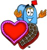 Mail Box Cartoon Character With Valentines Candies clipart