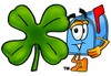 Mail Box Cartoon Character With a Four Leaf Clover clipart