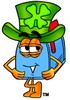 Mail Box Cartoon Character Waring a St Patricks Day Hat clipart