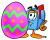 Mail Box Cartoon Character With an Easter Egg clipart