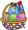 Mail Box Cartoon Character With Easter Eggs In a Basket clipart