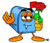 Mail Box Cartoon Character Holding a Red Rose clipart
