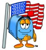 Mail Box Cartoon Character With an American Flag clipart