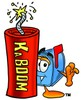 Mail Box Cartoon Character With a Stick of Dynamite clipart