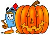 Mail Box Cartoon Character With a Halloween Pumpkin clipart