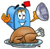 Mail Box Cartoon Character Serving a Thanksgiving Turkey clipart