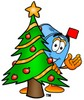 Mail Box Cartoon Character With a Christmas Tree clipart