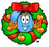 Mail Box Cartoon Character With a Christmas Wreath clipart