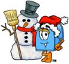 Mail Box Cartoon Character With a Snowman clipart