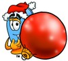 Mail Box Cartoon Character Holding a Christmas Ornament clipart