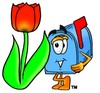 Mail Box Cartoon Character With a Spring Tulip clipart