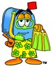 Mail Box Cartoon Character In Yellow Snorkel Gear clipart