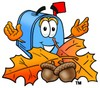 Mail Box Cartoon Character With Autumn Leaves and Acorns clipart