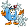 Mail Box Cartoon Character With Snowflakes clipart