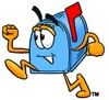 Mail Box Cartoon Character Running clipart