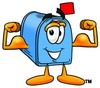 Mail Box Cartoon Character Flexing His Muscles clipart