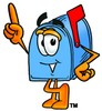 Mail Box Cartoon Character Pointing Upwards clipart