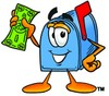 Mail Box Cartoon Character Holding Cash clipart