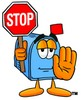 Mail Box Cartoon Character Holding a Stop Sign clipart